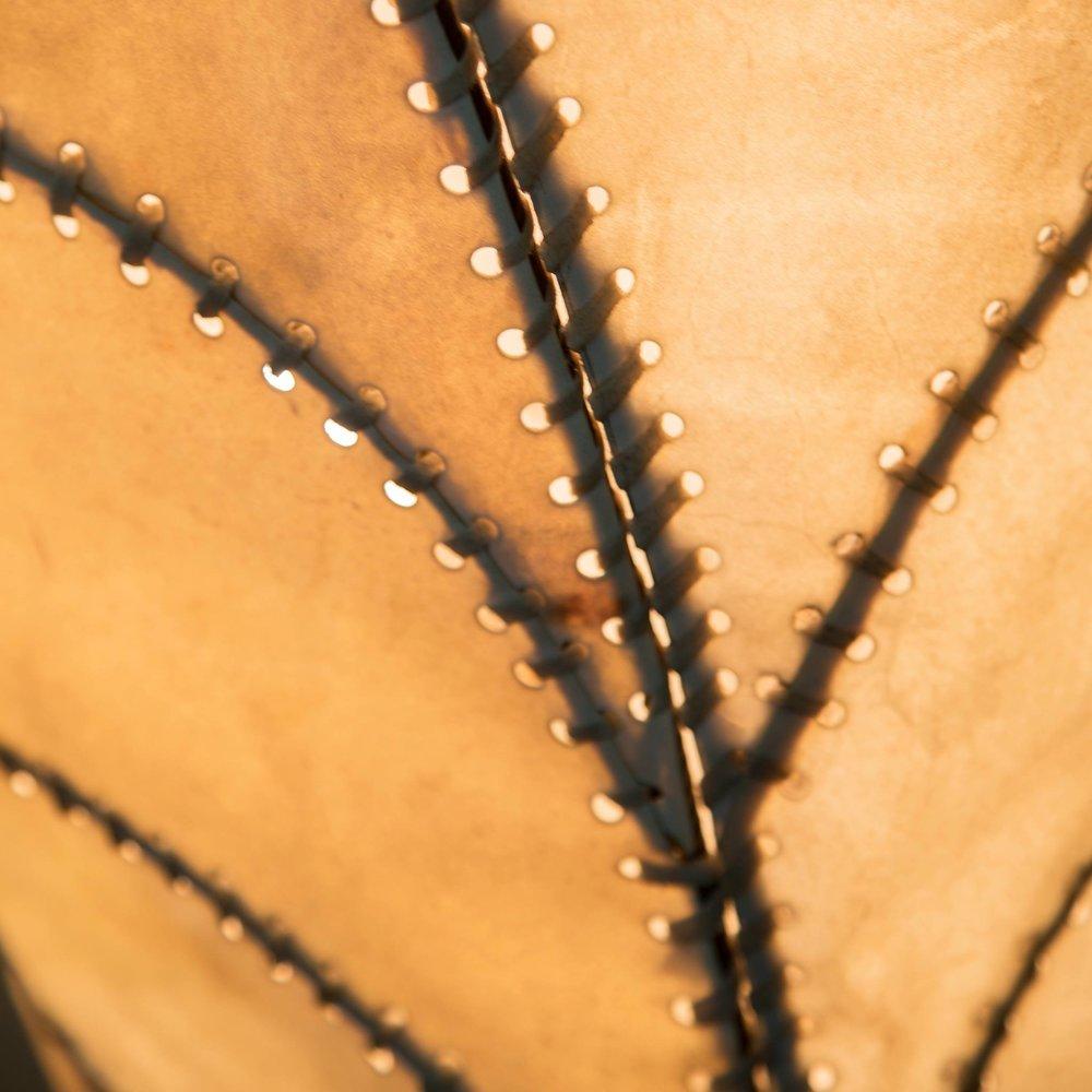 Lámpara de pergamino: Gracias a sus exploraciones con el sisal que luego la llevóal cuero, Luisa descubrió otro amor de Arca|Deco: el pergamino de cuero. Muchos hemos oído la palabra pergamino porque los rollos de pergamino se usan desde hace mas de 2000 años para escribir textos. Pero no se qué tantos de nosotros sabremos que el pergamino es el resultado de un proceso en el que se eliminan dos capas de piel de res para extraer la dermis, una capa de piel traslúcida que filtra la luz mejor y más bello que los filtros de su cámara y su photoshop.  Gracias a esta dermis, Arca|Deco hace lámparas como la de esta foto.  (Foto: Alessandra Tanzi)