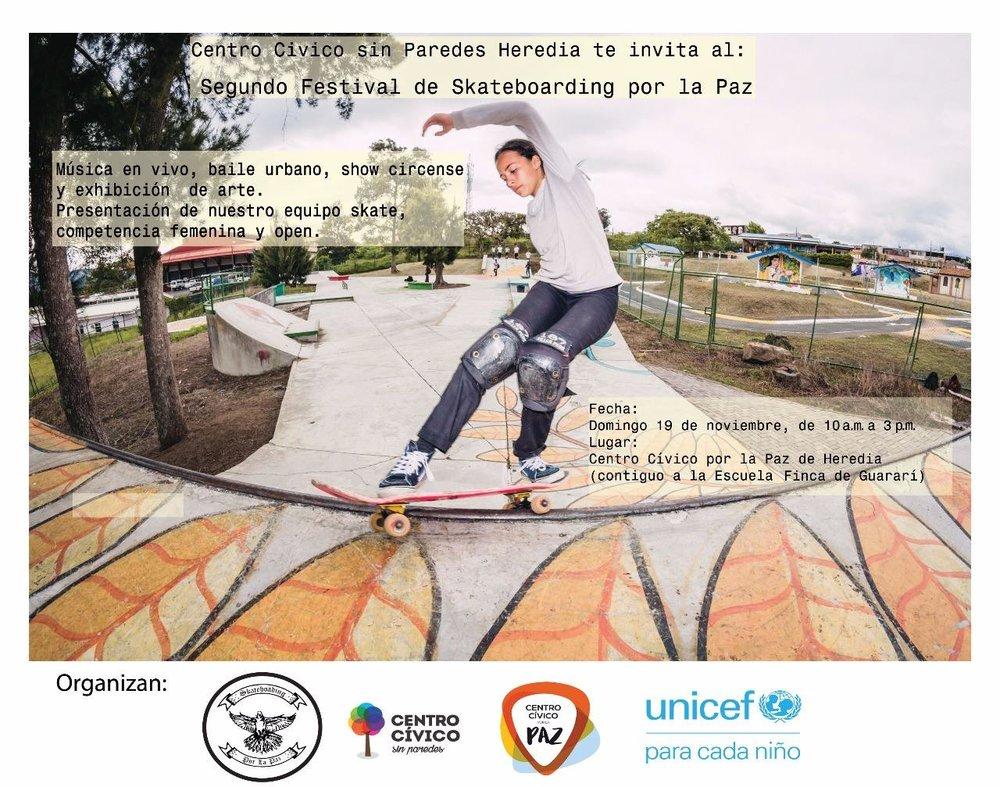 Afiche del Segundo Festival Skateboarding para la Paz. ESTE DOMINGO 19 DE NOVIEMBRE.