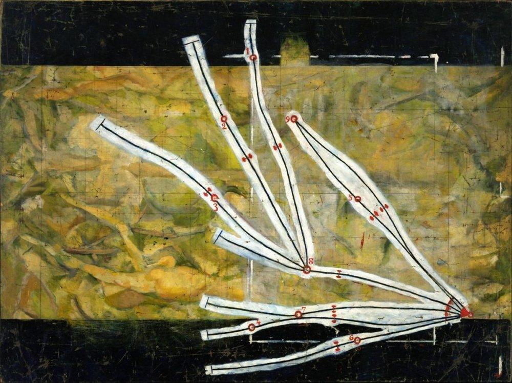 """""""Network of Stoppages"""", 1914, Marcel Duchamp.   En  """"Network of Stoppages""""  el autor aplica las 3 nuevas representaciones generadas en  """"3 Standard Stoppages""""  utilizando una obra inédita de su época cubista como fondo ideal para la composición estética que desea crear."""
