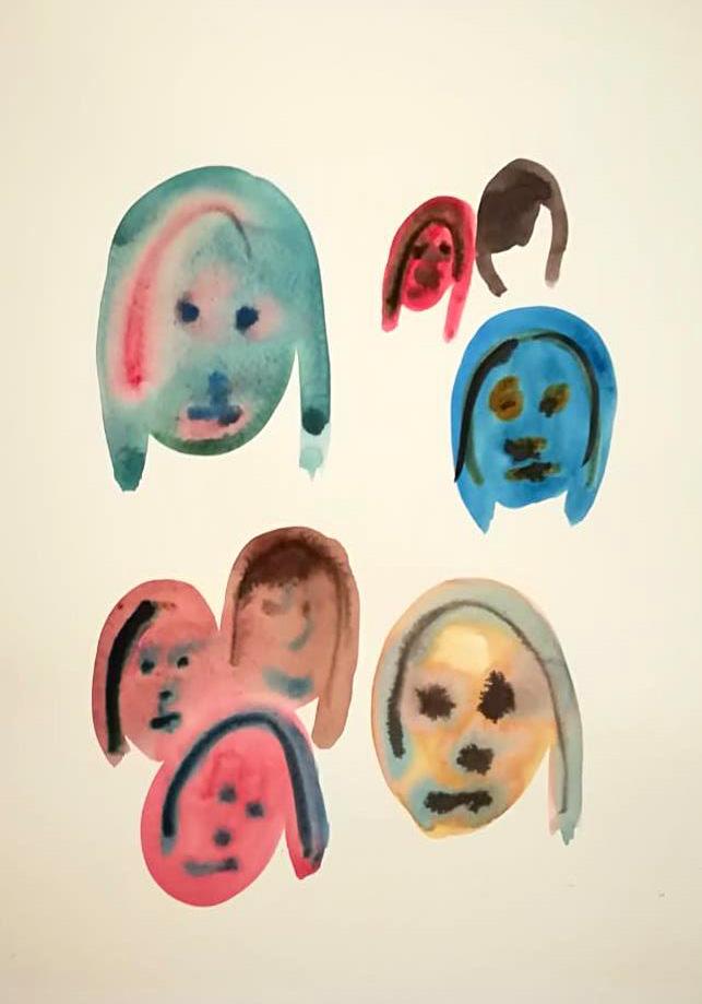 sin título, acuarela, tinta china y collage sobre papel, 210 x 297 mm, 2018 | obras disponibles en boutique kiosko sjo, precio: 40,000 colones | imágenes cortesía de la artista