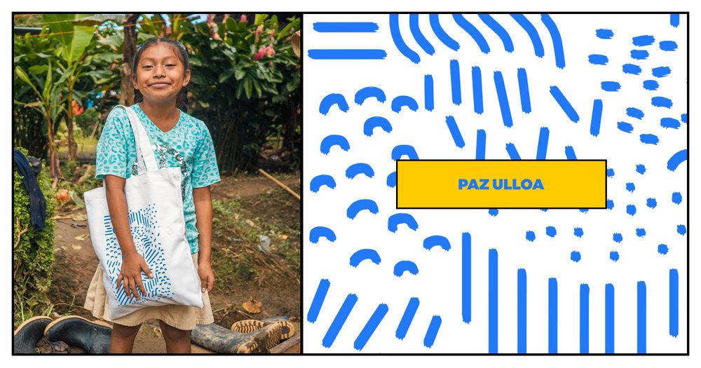 bolso con diseño de paz ulloa. la venta de estos bolsos beneficia el programa de agua de iron kids, el cual ya ha beneficiado a 7 escuelas de la zona del caribe. precio: 18,000 colones
