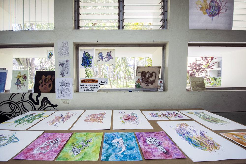 espacio de trabajo de    camilo camacho    | imagen cortesía de    adriana araya