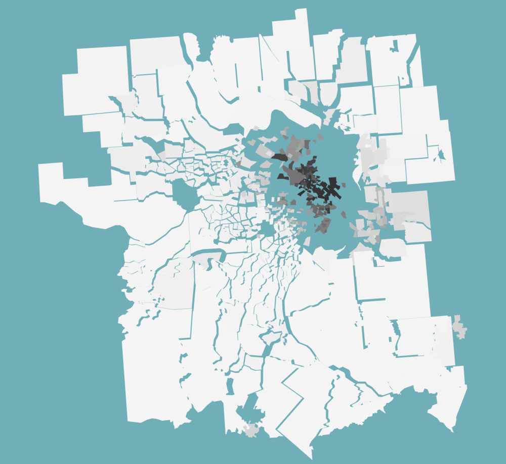 Saint Louis as shown in Visualizing the Racial Divide
