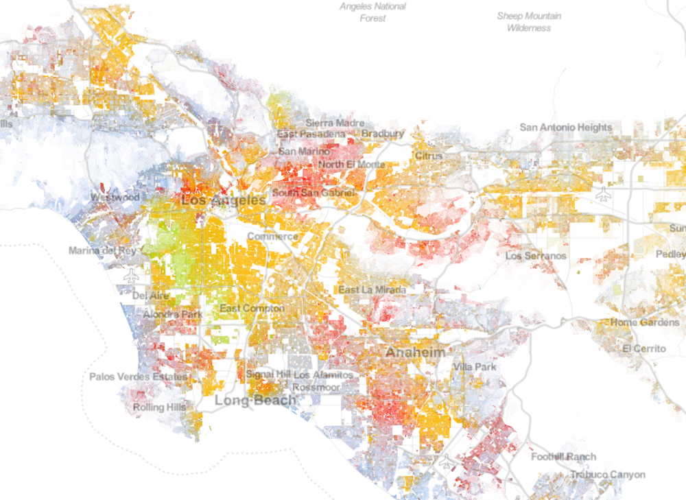 Los Angeles visualized in The Racial Dot Map