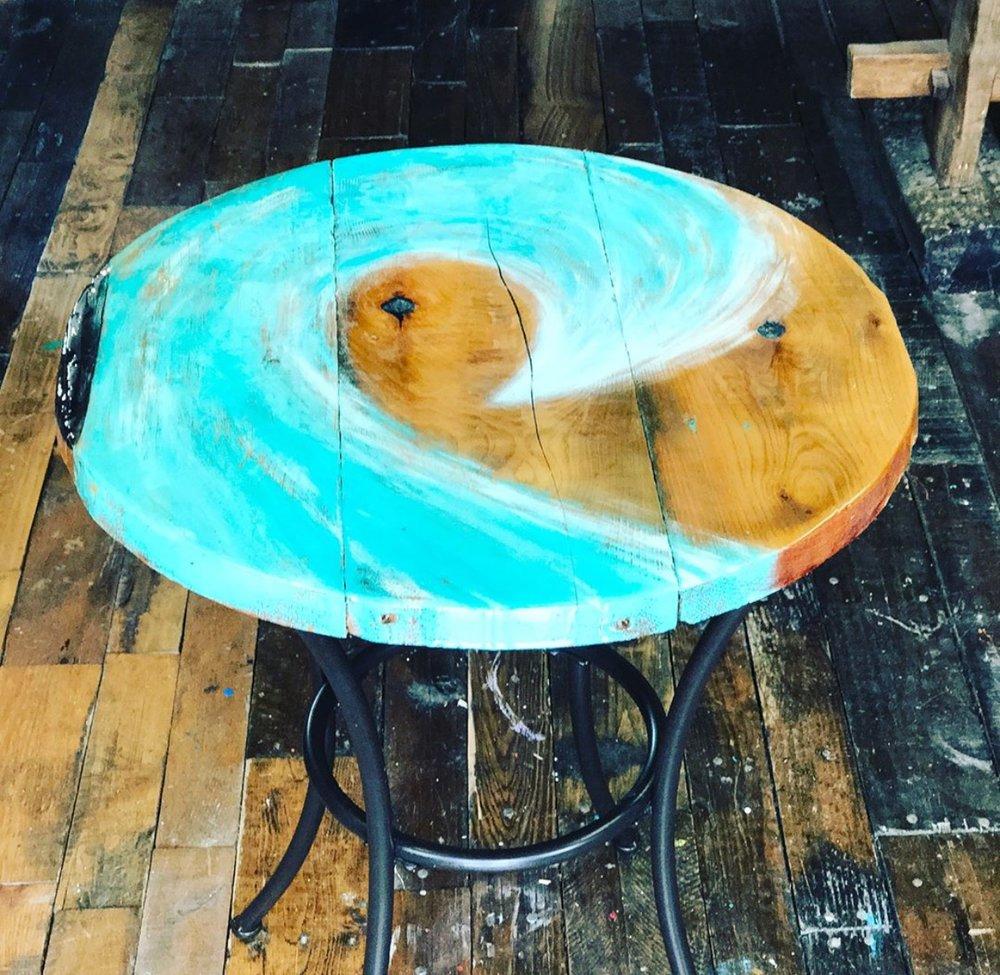 Custom hand-painted cedar table