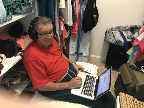 Chuck in the closet recording an interview