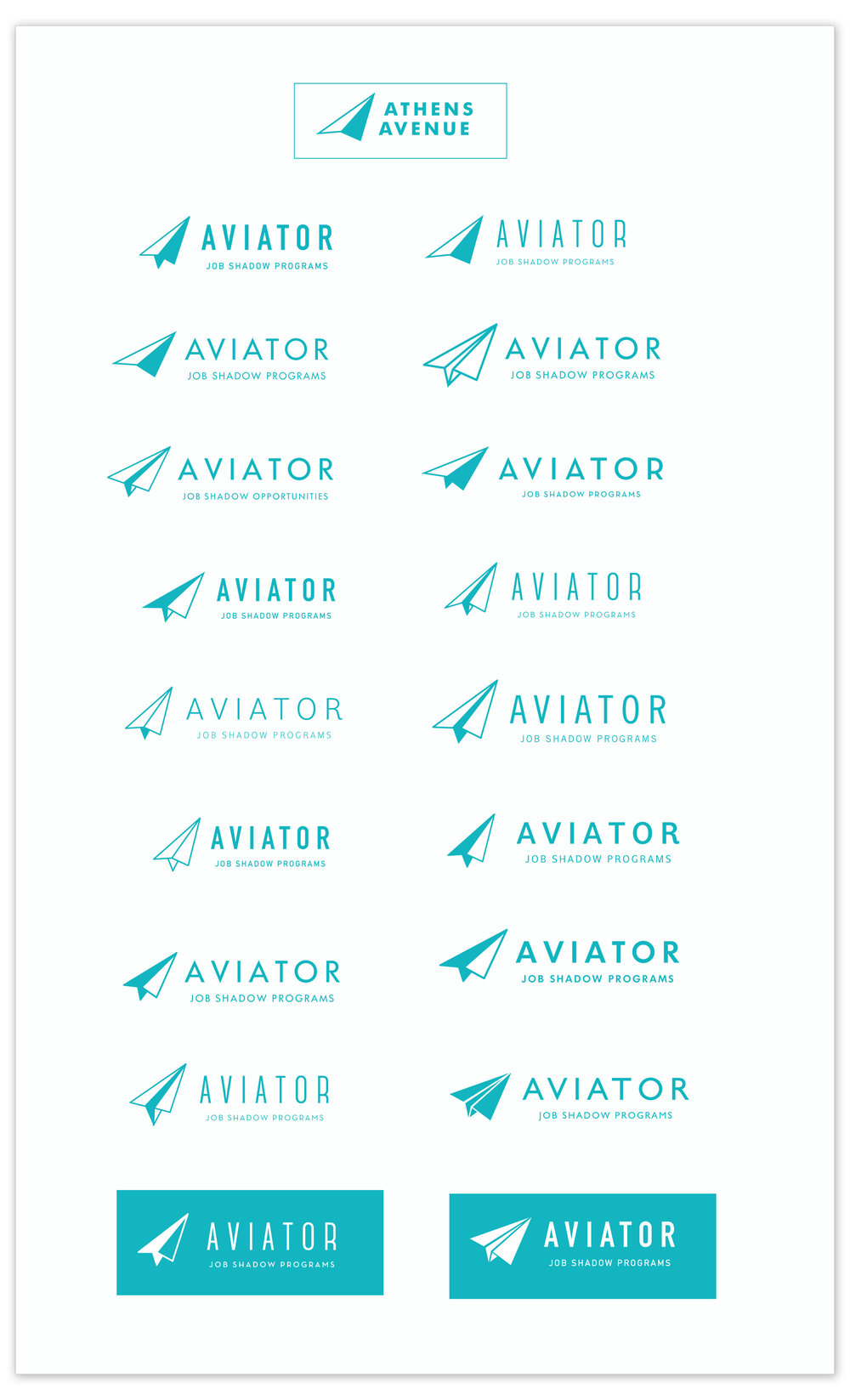 In the change to Aviator the client wanted to alter the compus arrow to resemble a paper air plane and add a tagline. Here are the options the client was given.