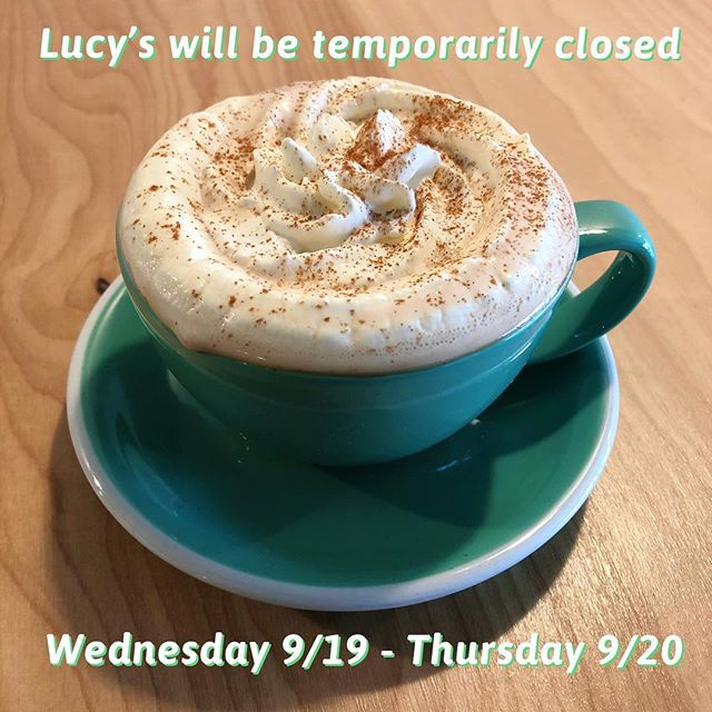 We love you a latte but unfortunately we will be closed Wednesday and Thursday while they finish paving Laurel Lane. We appreciate all your support and we will see you Friday am! Cheers ~ Lucy's #coffee #slo #coffeeshop #construction #ilovelucys