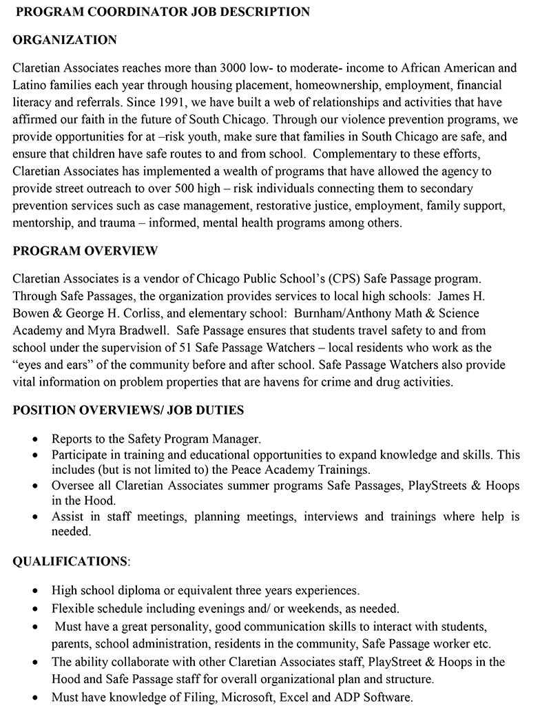 Program Coordinator Job Description   Program Coordinator Job Description Organization Claretian