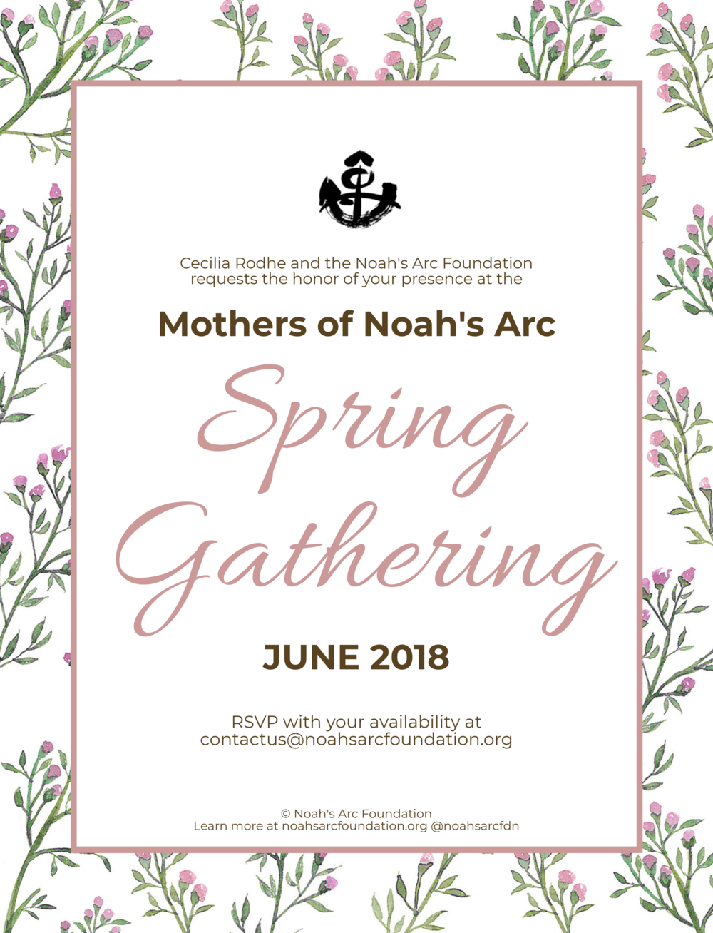 Mothers of Noah's Arc Spring Gathering Invitation