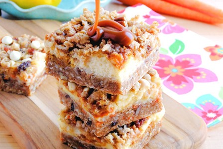 Carrot Cake Cheesecake Crumble Bars from WIcked Good Kitchen