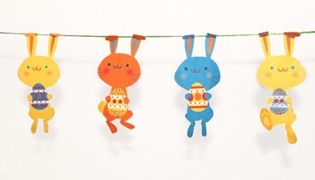 快乐思想的复活节兔子花环