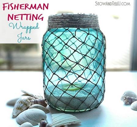 Stow和TellU的渔夫网包装的罐子