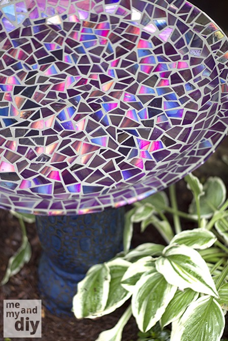 Mosaic Tile Birdbath from Me and My DIY