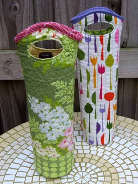 Quilted Wine Tote from Needle and Spatula