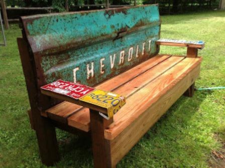 Truck Tailgate Garden Bench from Kathi's Garden Art