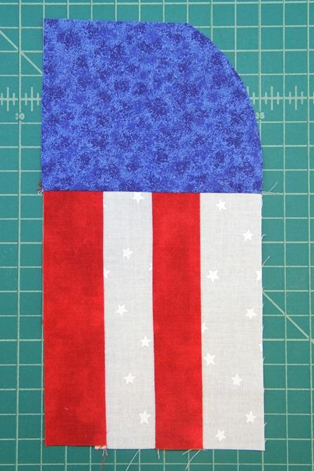 Add stripes to blue corner