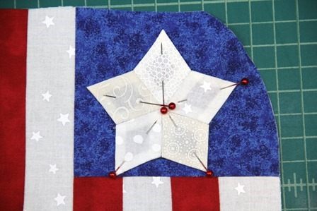 Pin star to blue corner