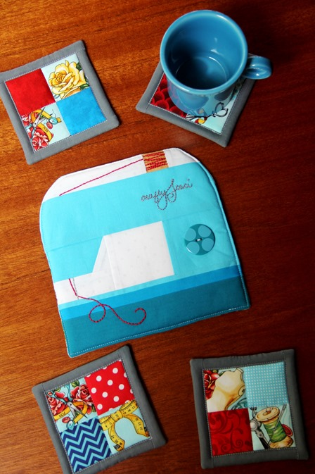Sewing Machine Hot Pad and 4 Patch Coasters