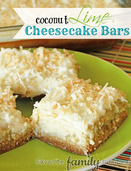 Coconut Lime Cheesecake Bars from Favorite Family Recipes