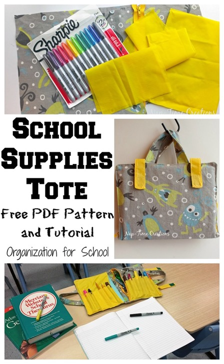 School Supplies Tote from Nap-Time Creations