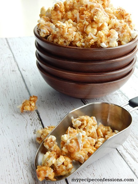 Toasted Coconut Caramel Popcorn from Cooking with Ruthie