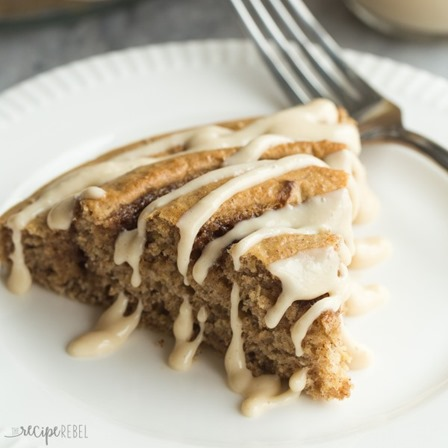 Cinnamon Roll Baked Pancake with Maple Cream Cheese Syrup from The Recipe Rebel