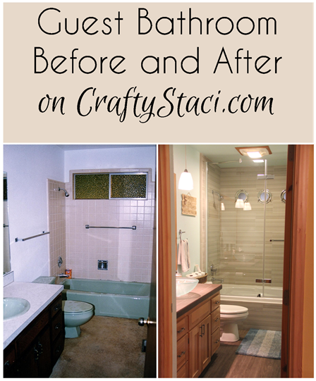 Guest Bathroom Before and After on CraftyStaci.com
