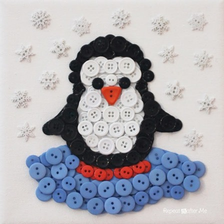 Penguin Button Art from Repeat Crafter Me