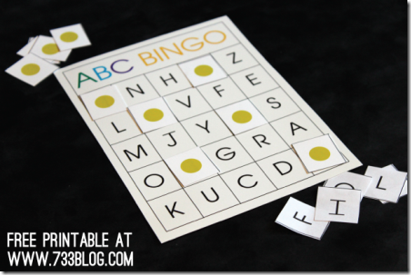 ABC Preschool Bingo from 733 Blog