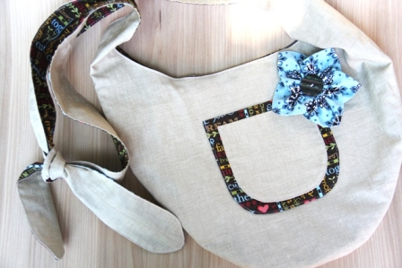 Beige and Happy Words Sling Bag - CraftyStaci