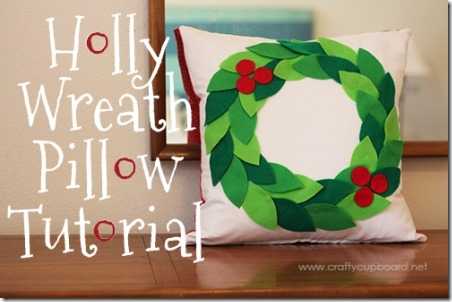 Holly Wreath Pillow - Skip to my Lou