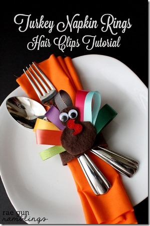 Rae Gun Ramblings Turkey Napkin Rings and Hair Clips