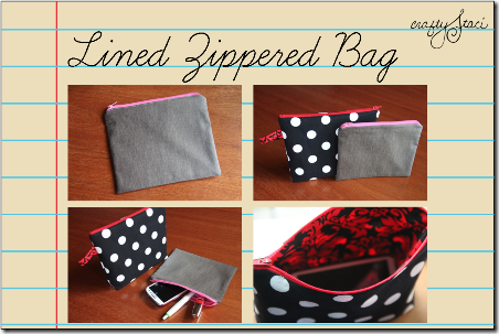 Lined Zippered Bag by Crafty Staci