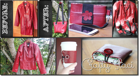 Red Leather Coat Refashion - Crafty Staci 1