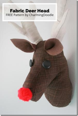迷人涂鸦的面料鹿头