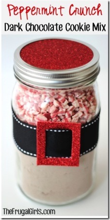 Peppermint Crunch Dark Chocolate Cookie Mix in a Jar from The Frugal Girls