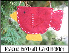Teacup Bird Gift Card Holder