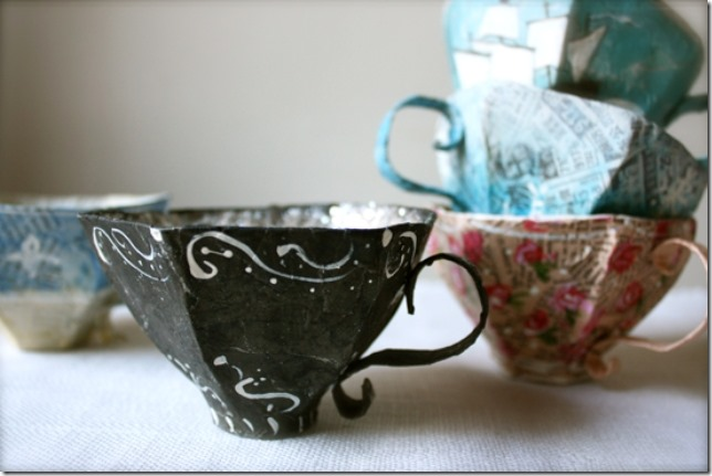 Paper Mache Tea Cups by Ann Wood