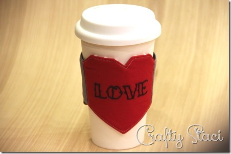 Heart and Arrow Coffee Sleeve - Crafty Staci 1