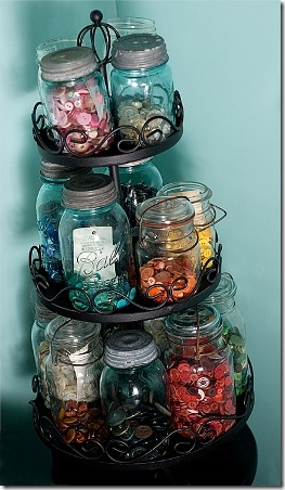 Mason Jar Button Storage by Traveling at the Speed of Life