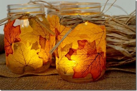 Spark and Chemistry的Leaf Mason Jar烛台