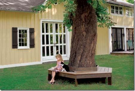 这座老房子的树凳