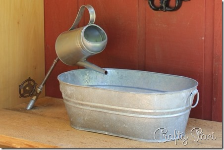 Galvanized tub sink and watering can faucet crafty staci for Galvanized tub kitchen sink
