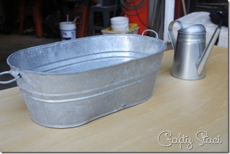 Galvanized Tub Sink and Watering Can Faucet - Crafty Staci 3
