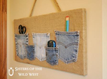 狂野西部姐妹的牛仔布口袋收纳袋