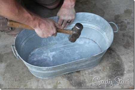 Galvanized Tub Sink and Watering Can Faucet - Crafty Staci 8