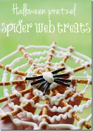 Halloween Pretzel Spider Web Treats from One Little Project