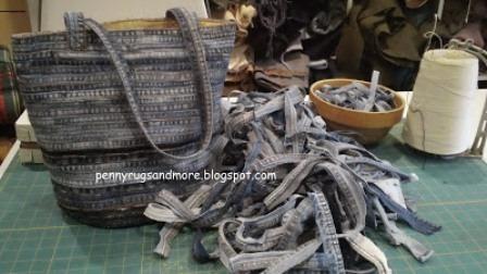 Penny Rugs等的扁平落缝接缝牛仔布袋