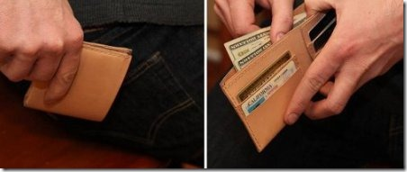 通过手洁的艺术皮革钱包